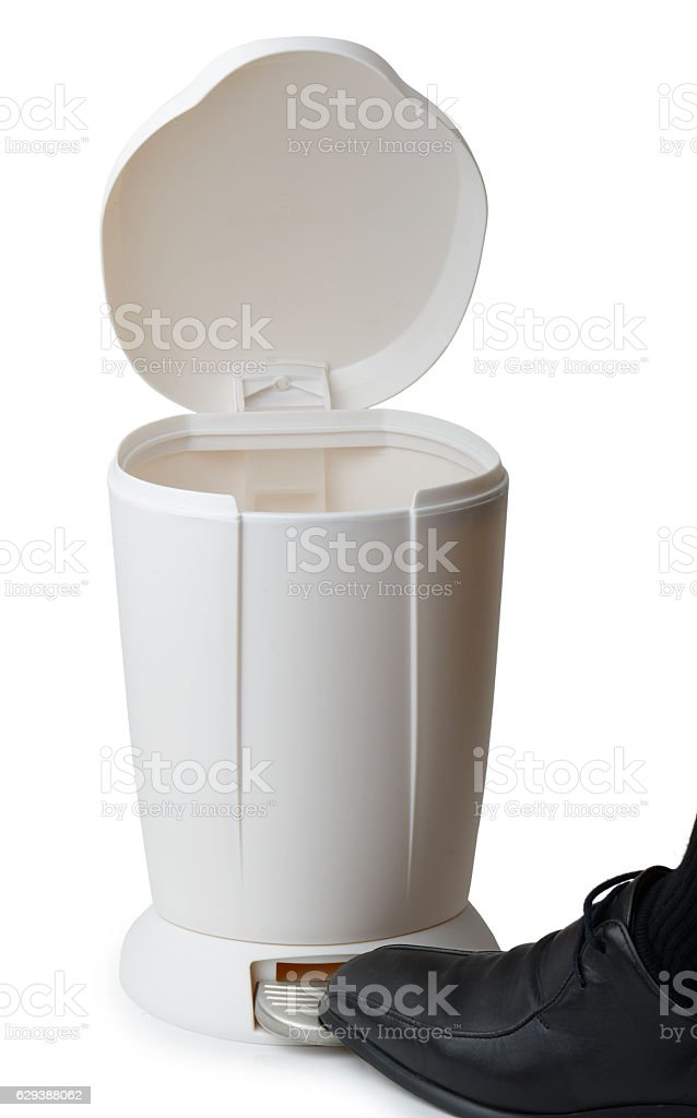 foot opening a pedal bin stock photo