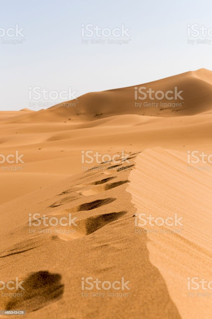 Foot print in desert sand royalty-free stock photo