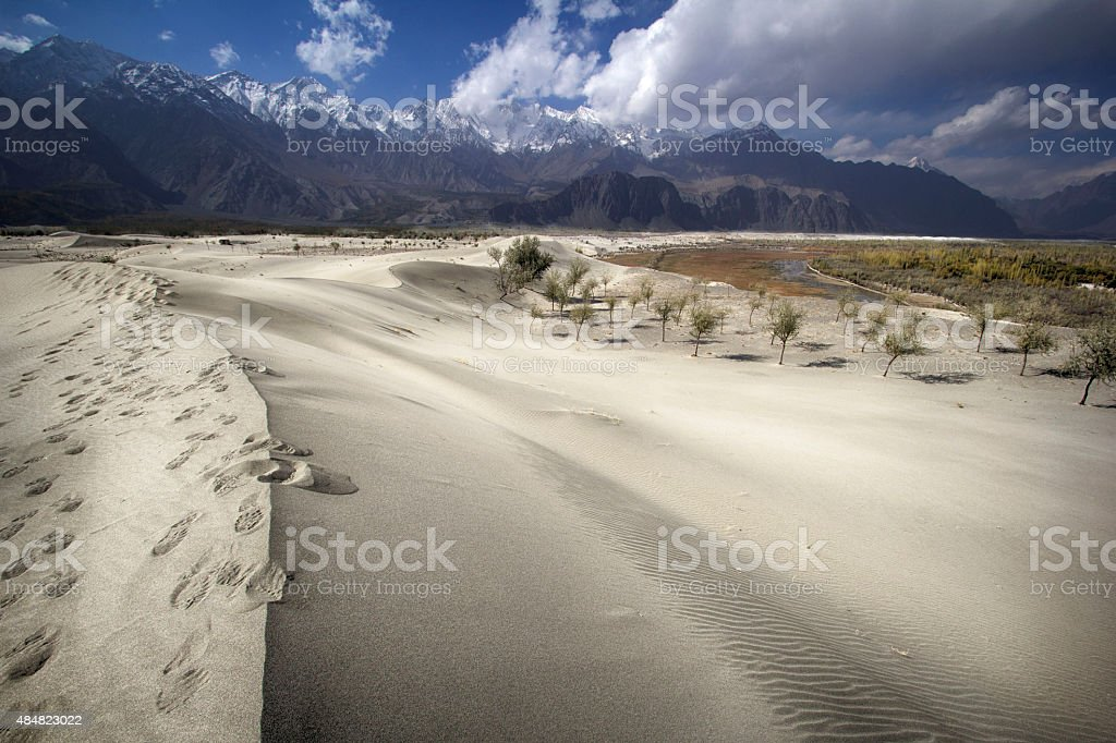Foot Prints & Dunes - Stock Image stock photo