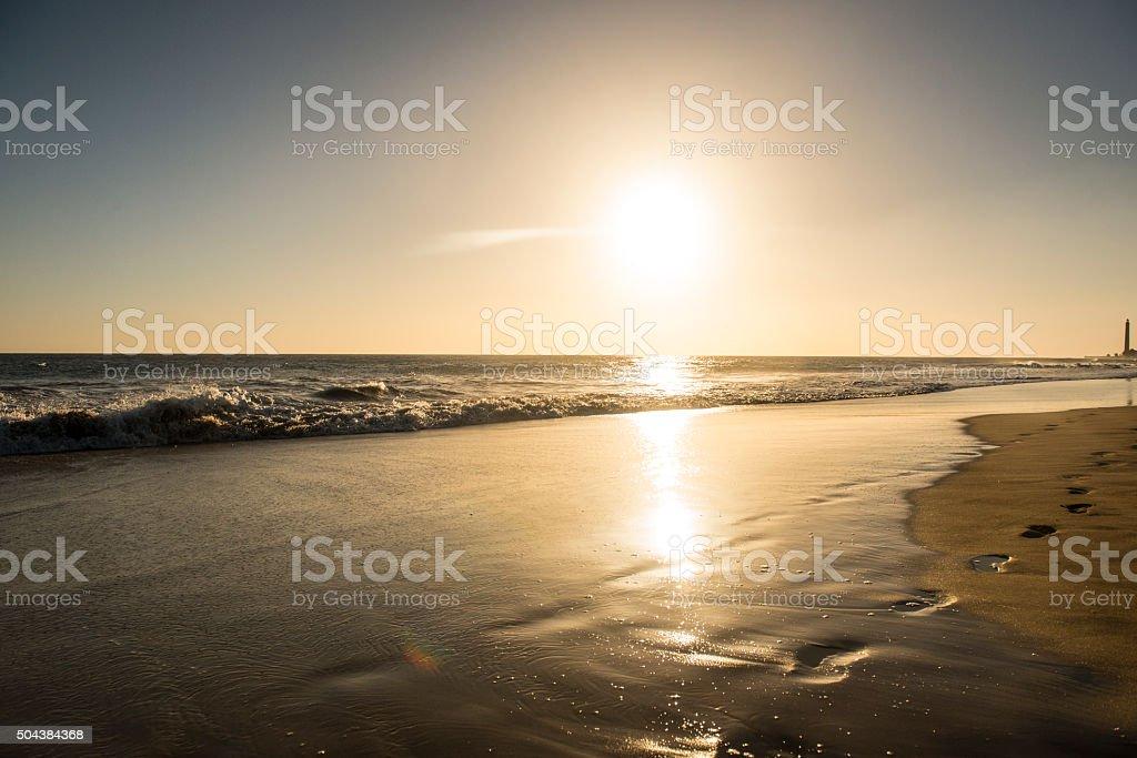 Foot prints in the sand in Maspalomas, Gran Canaria stock photo