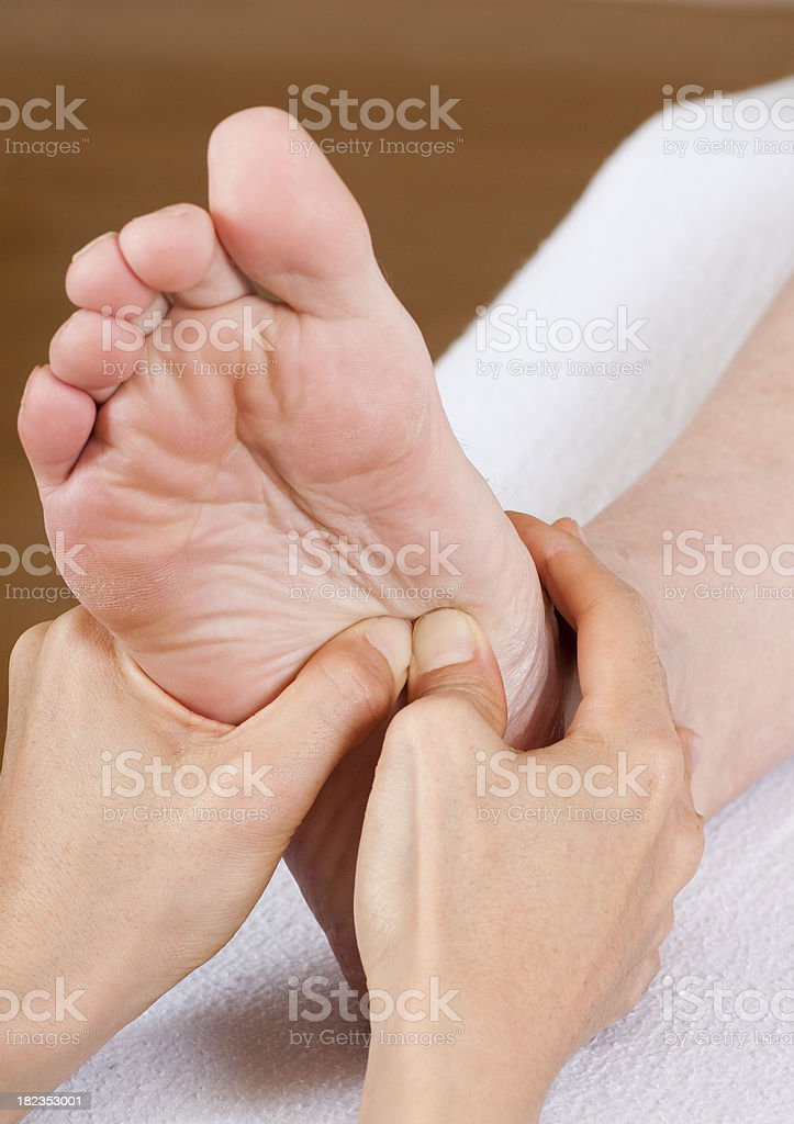 Foot Reflexology Massage Close-up royalty-free stock photo