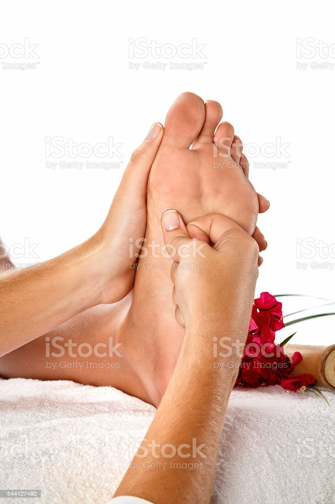 Foot Reflexology Massage Close-up stock photo