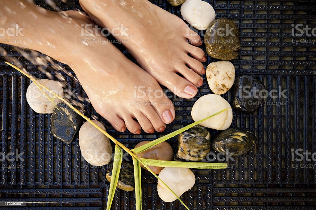 Foot Spa on Rubber Tiles royalty-free stock photo