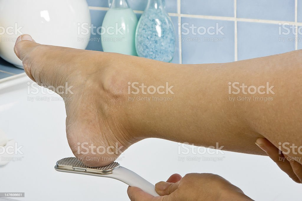 Foot treatment stock photo