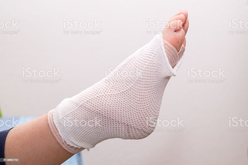 foot with bandage foot injury