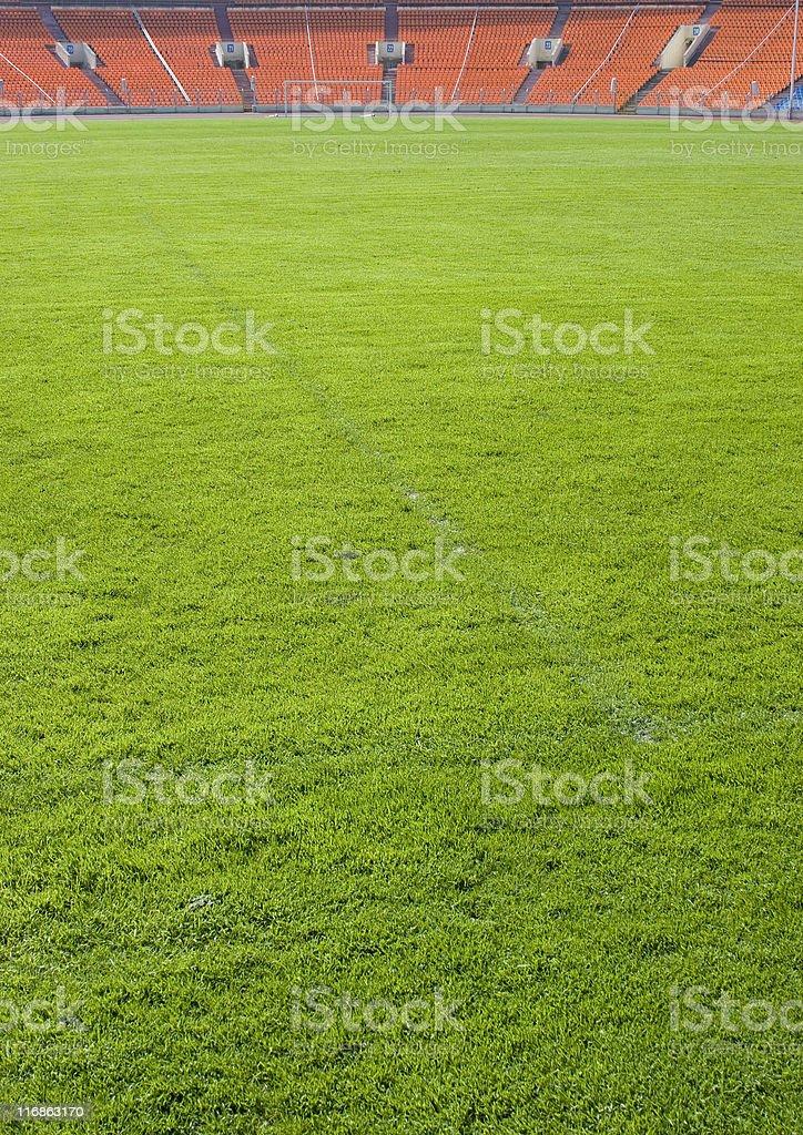 Footbal field on the stadium royalty-free stock photo