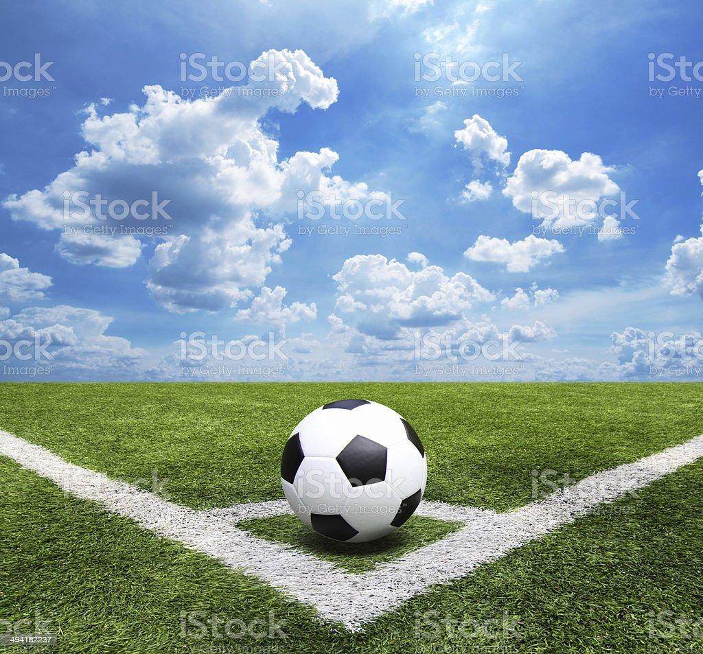 Football and soccer field grass stadium Blue sky background stock photo