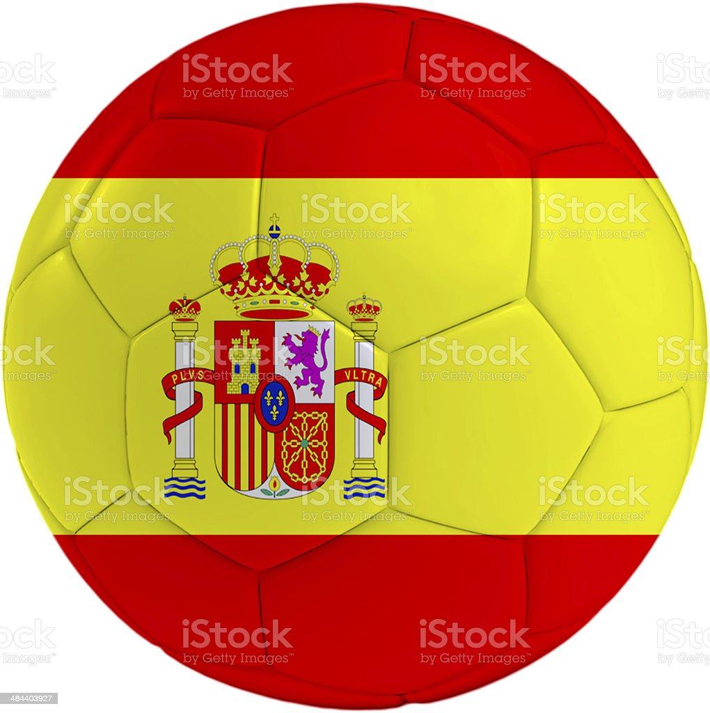 Football ball with Spain flag royalty-free stock photo