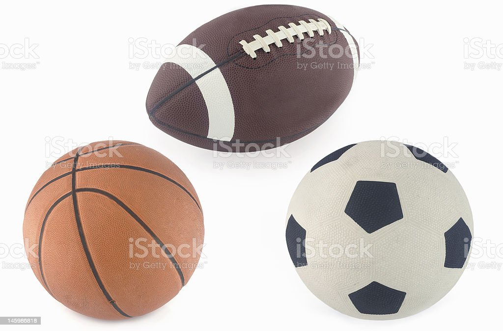 Football, basketball and rugby ball royalty-free stock photo