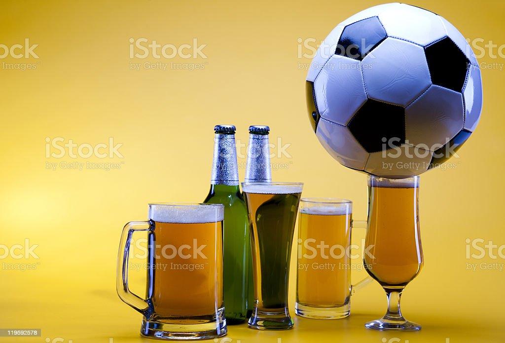 Football beer stock photo