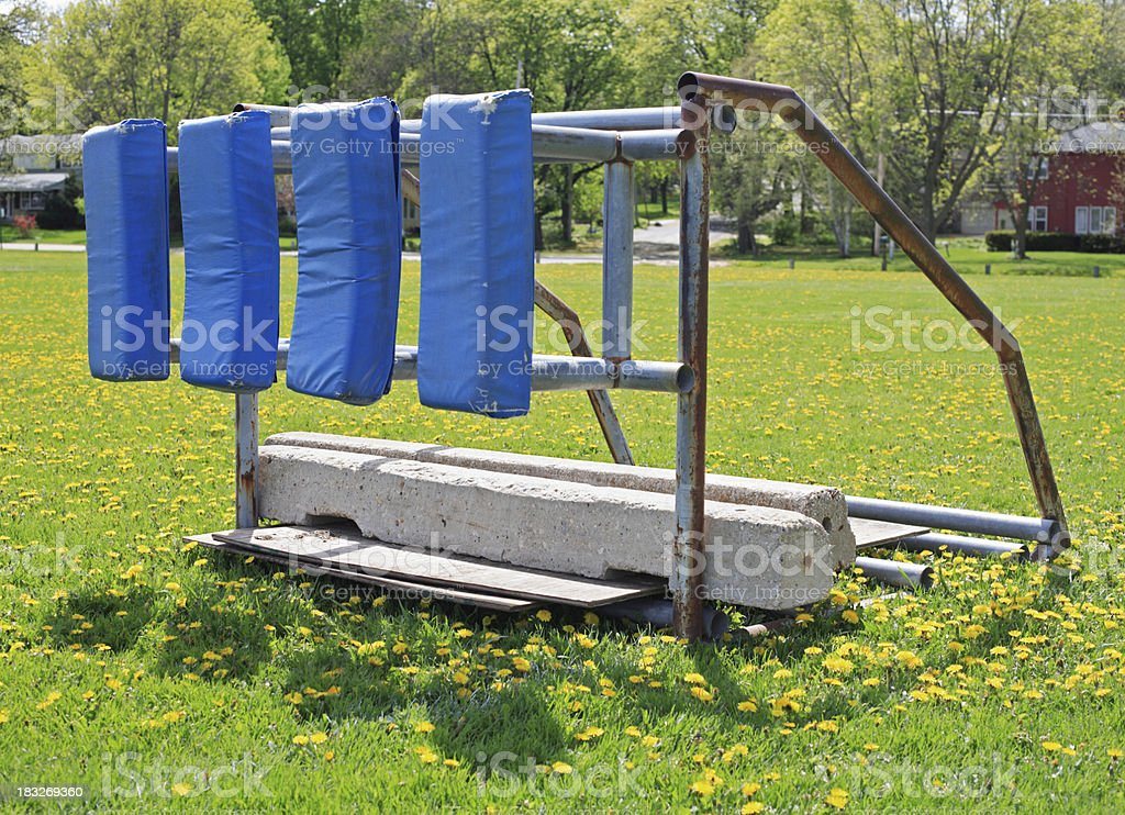 Football blocking sled stock photo