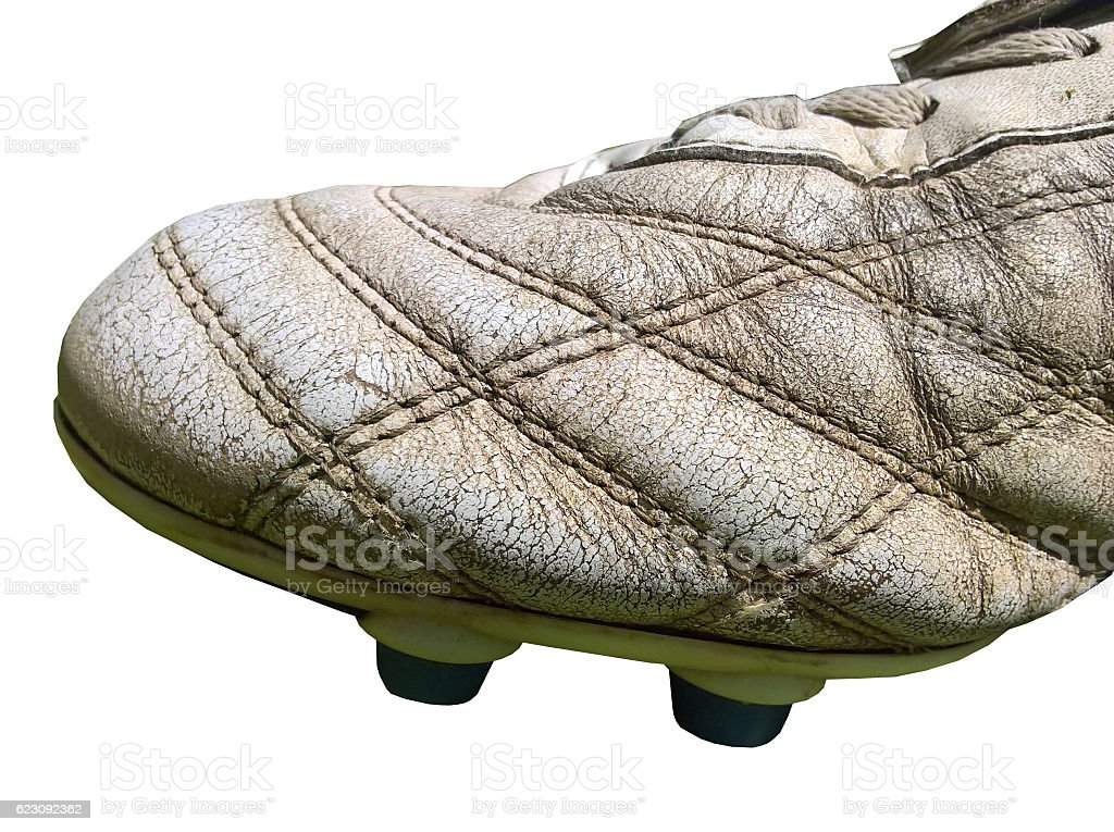 Football Boot (Old Leather) Isolated stock photo