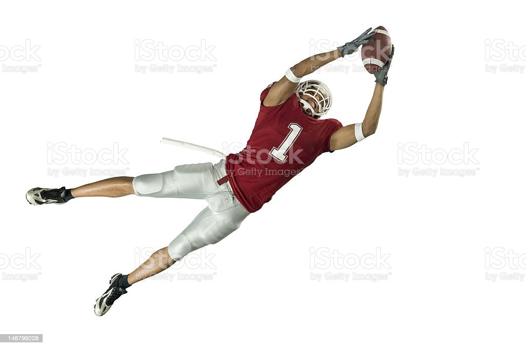 Football Catch On White stock photo