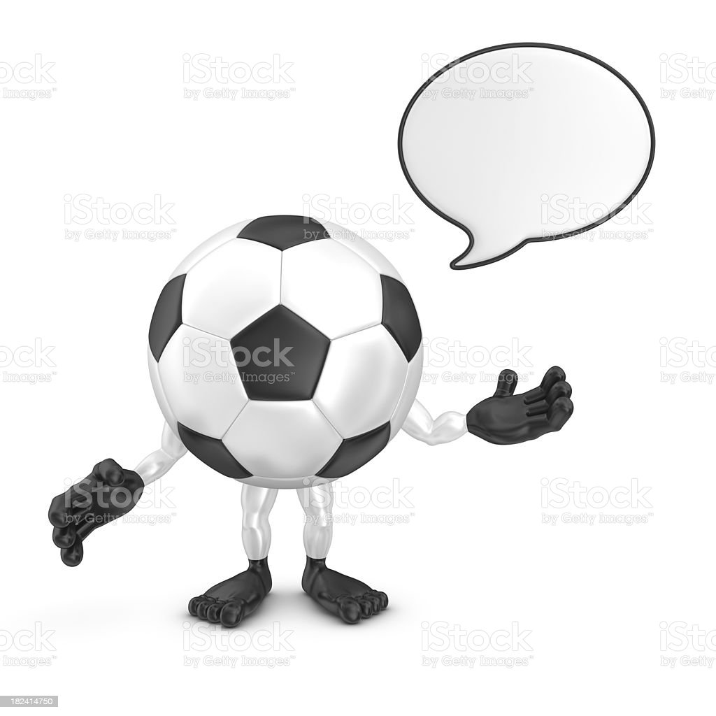 football character with speech bubble royalty-free stock photo