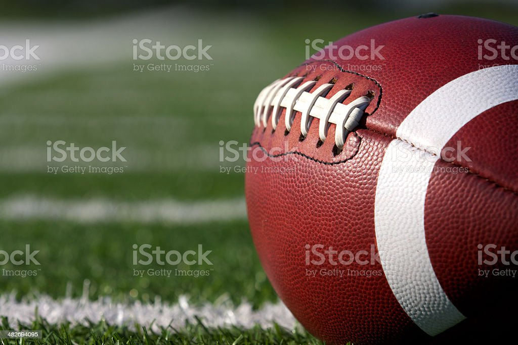 Football Close Up on Field stock photo
