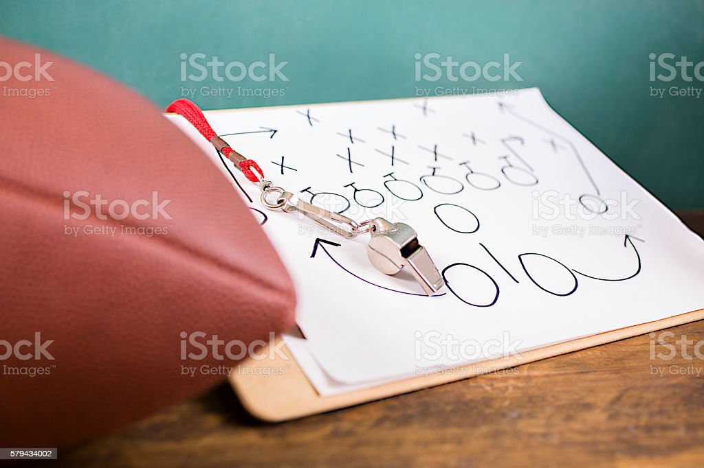 Football coach. Whistle, clipboard, ball, green school chalkboard. School sports. stock photo