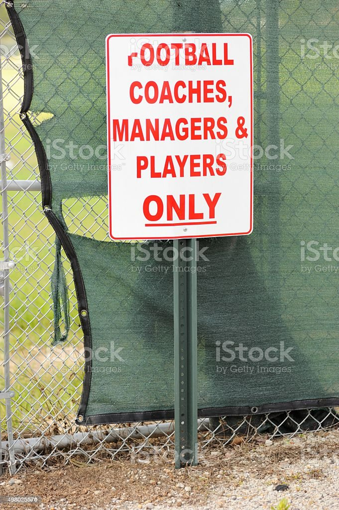 Football coaches managers and players only sign stock photo