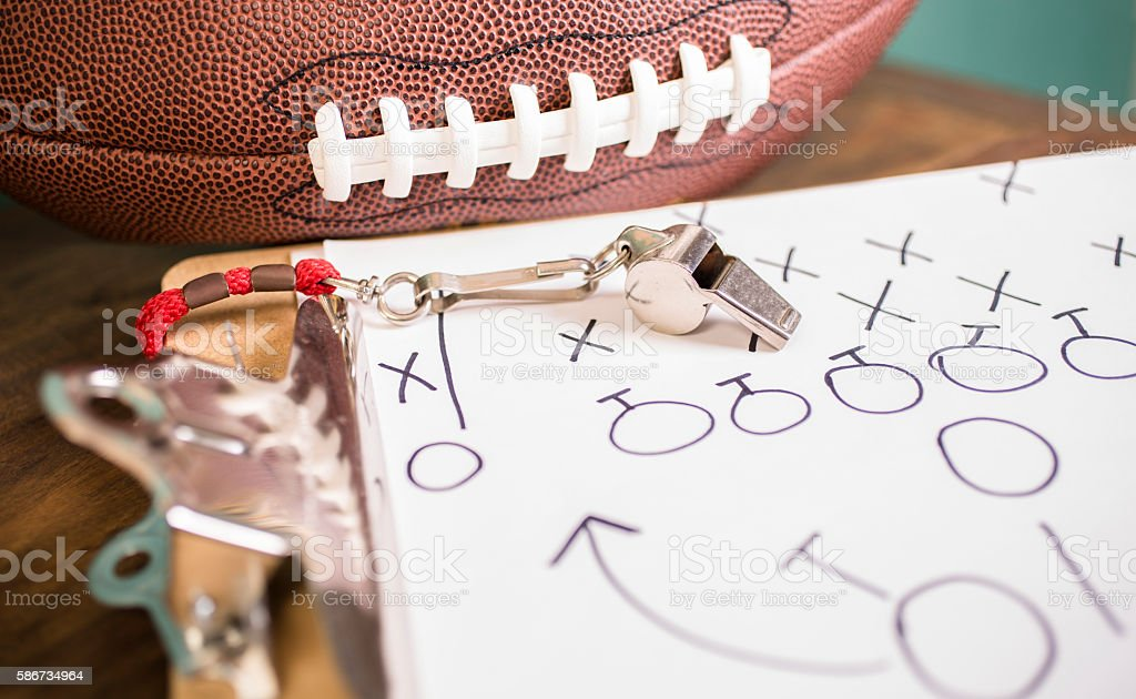 Football play diagram drawn by photographer.
