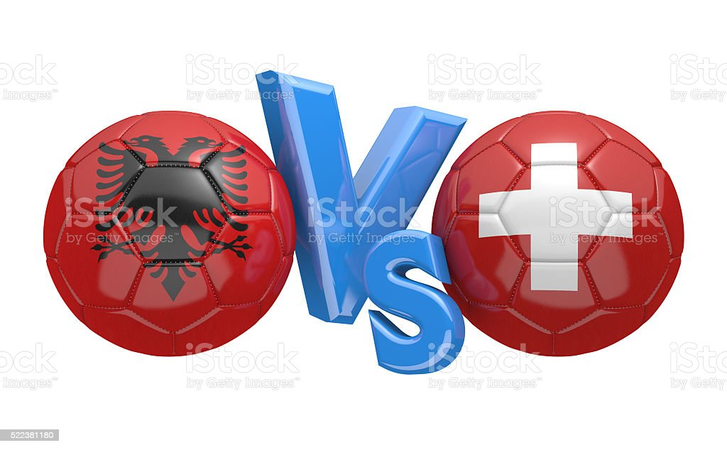 Football competition between national teams Albania and Switzerland stock photo