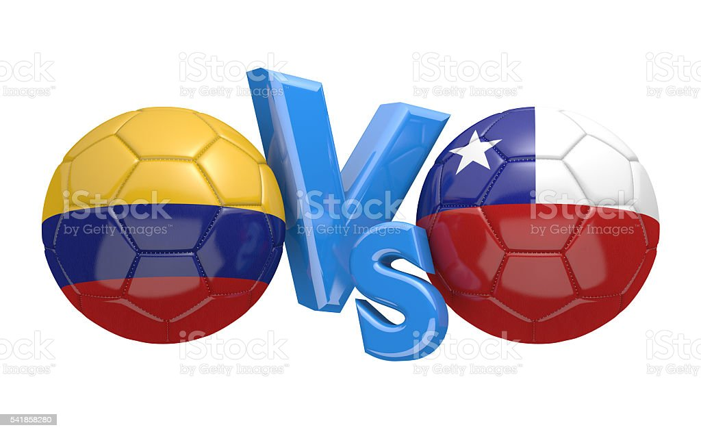 Football competition between national teams Colombia vs Chile, 3D rendering stock photo