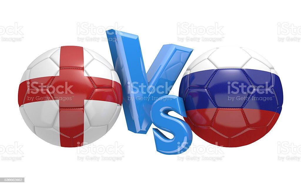 Football competition between national teams England and Russia, 3D rendering stock photo