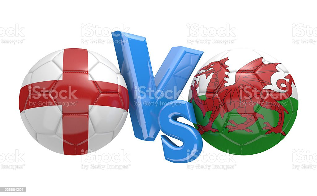 Football competition between national teams England and Wales stock photo