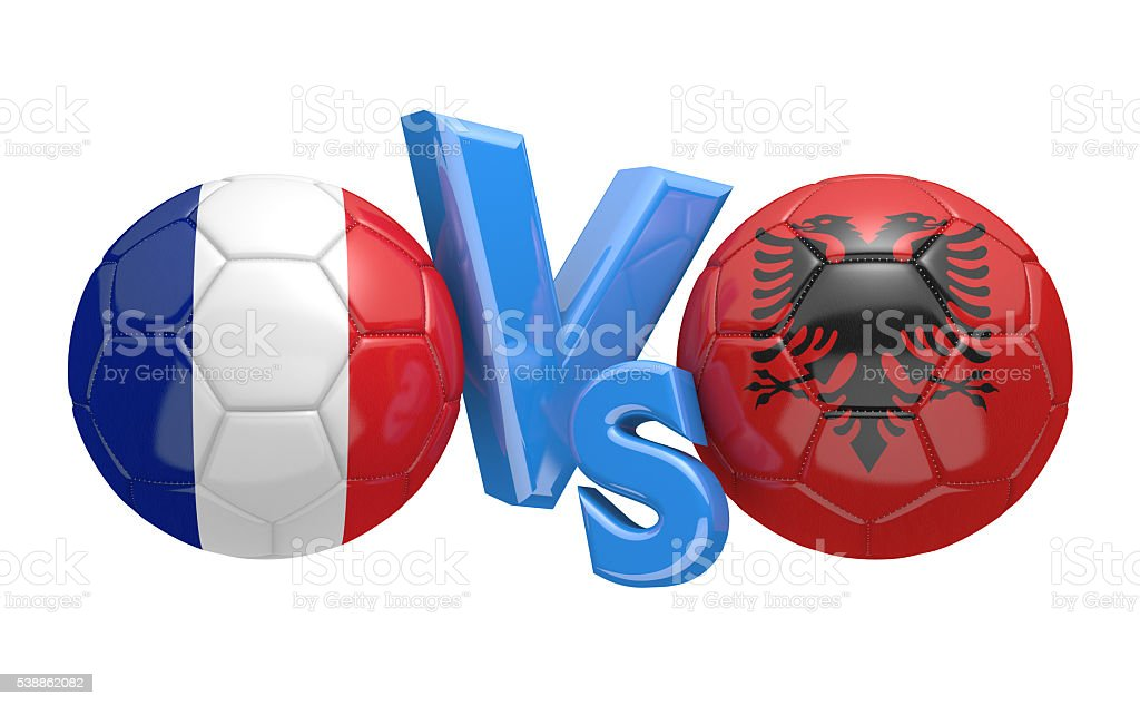 Football competition between national teams France and Albania stock photo