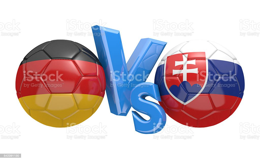 Football competition between national teams Germany and Slovakia stock photo