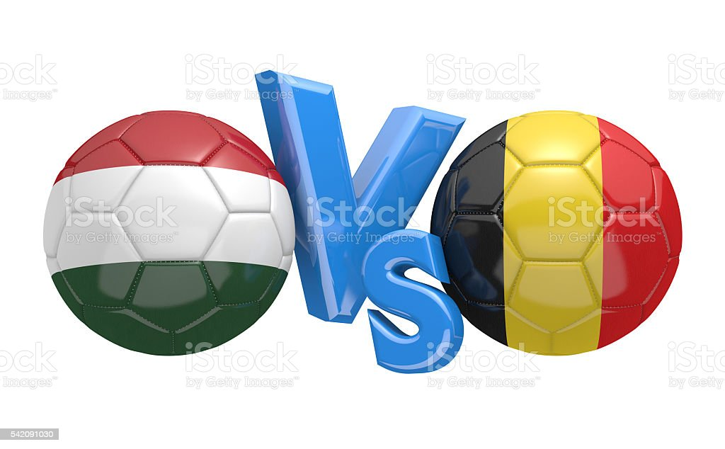 Football competition between national teams Hungary and Belgium stock photo