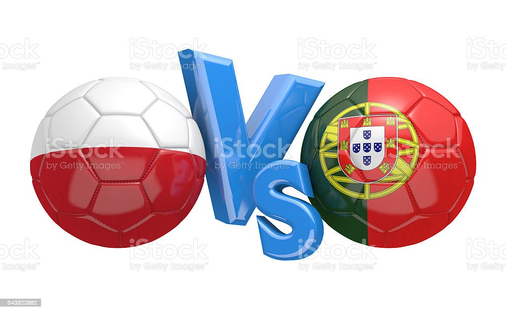 Football competition between national teams Poland and Portugal, 3D rendering stock photo