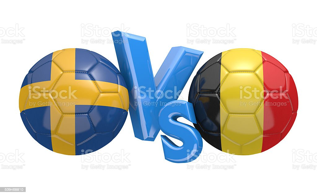 Football competition between national teams Sweden vs Belgium stock photo