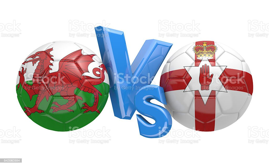 Football competition between national teams Wales and Northern Ireland stock photo