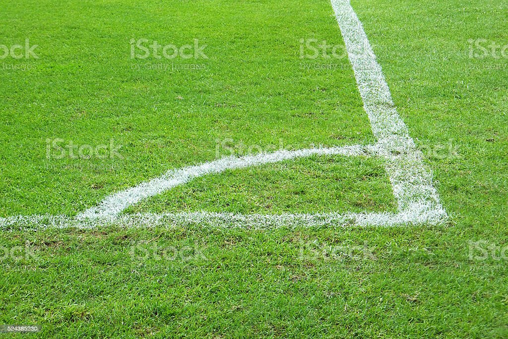 Football corner field. stock photo