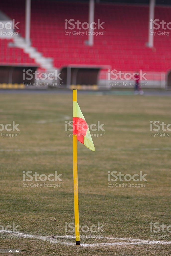 Football corner flag stock photo