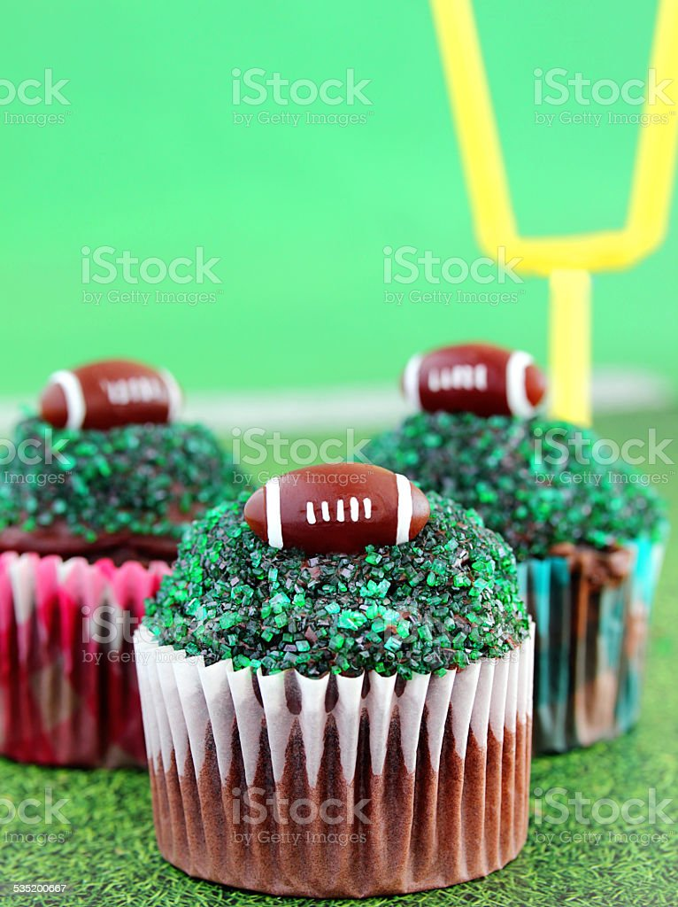 Football cupcakes stock photo