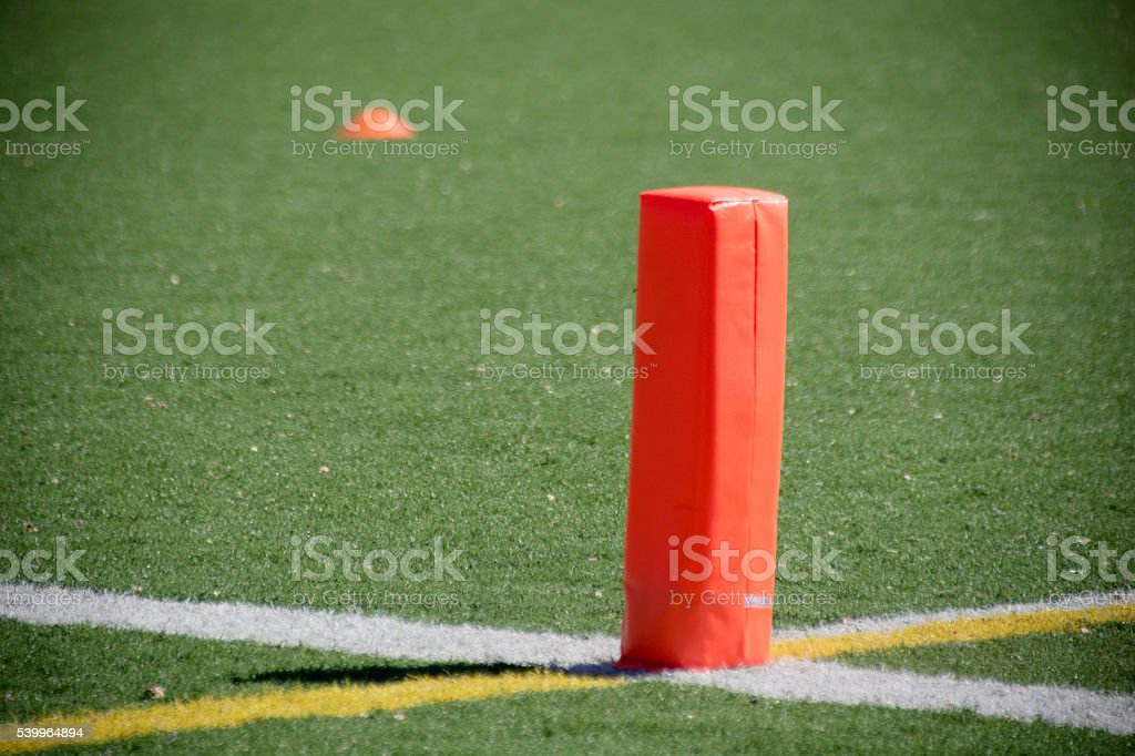 Football Endzone Markers stock photo
