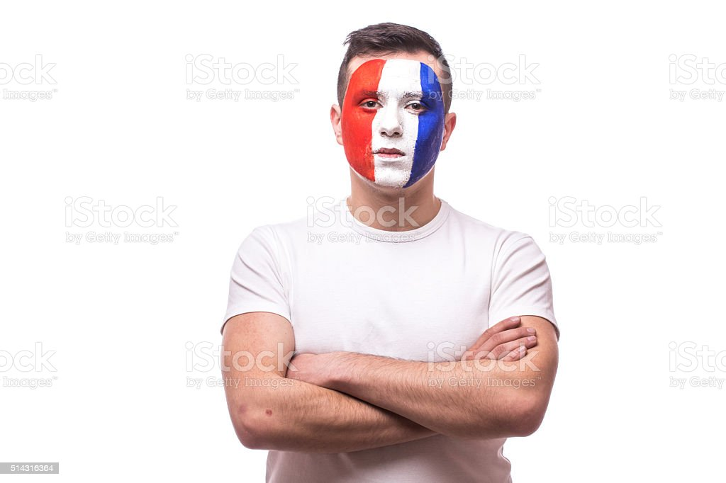 Football fan confident without emotion of France national football team stock photo