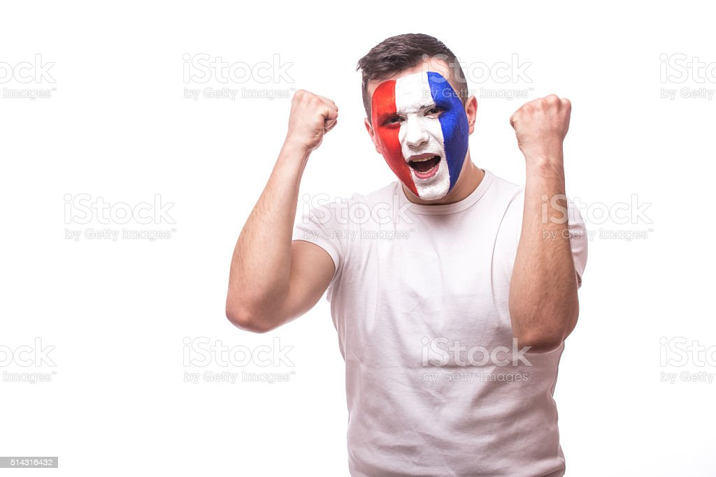 Football fan euphoric score at game of national football team. stock photo