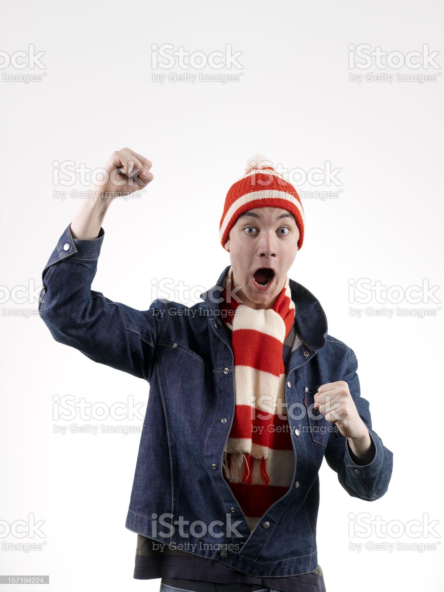 Football fan shouting royalty-free stock photo