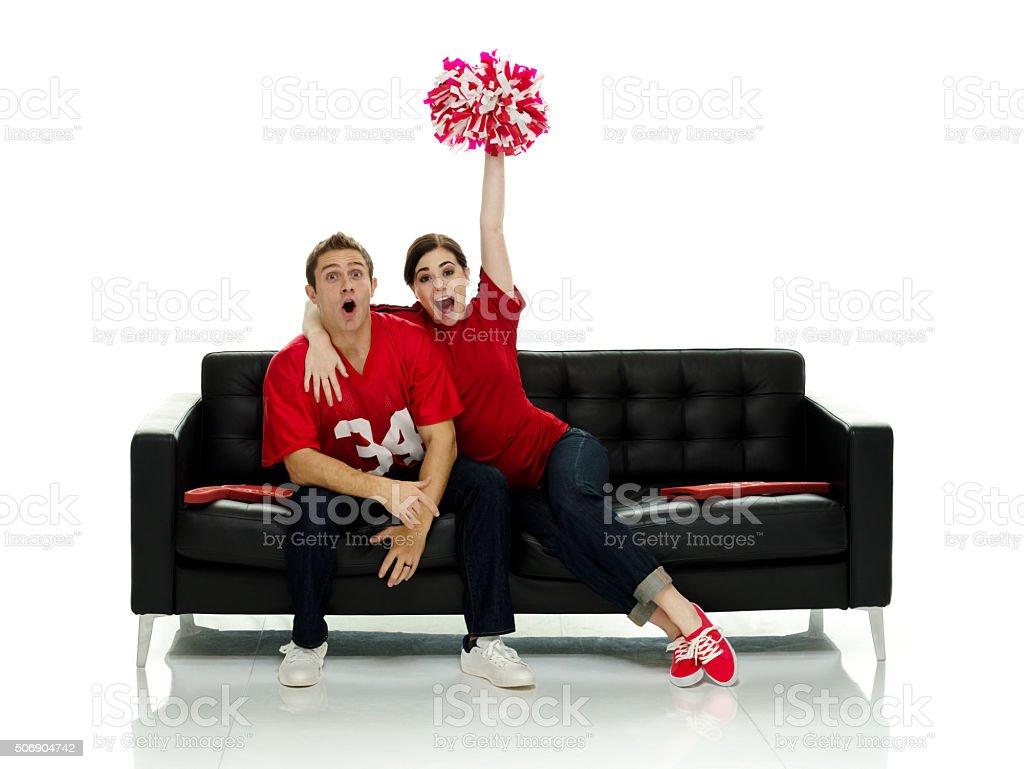Football fans cheering stock photo