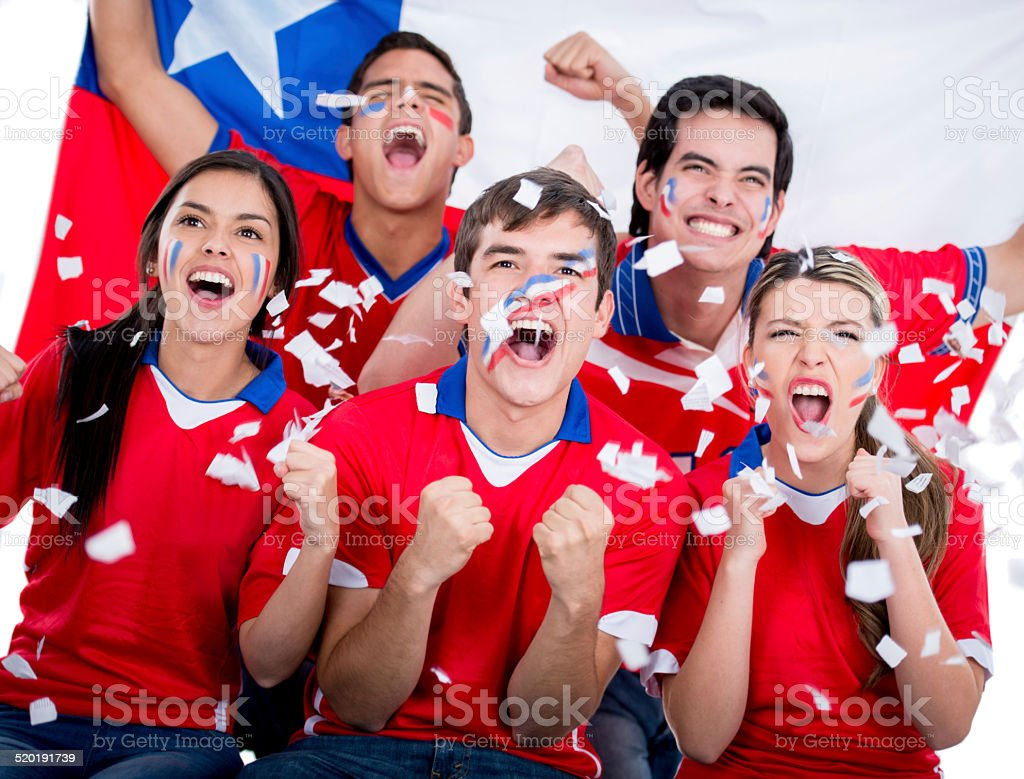 Football fans supporting Chile stock photo