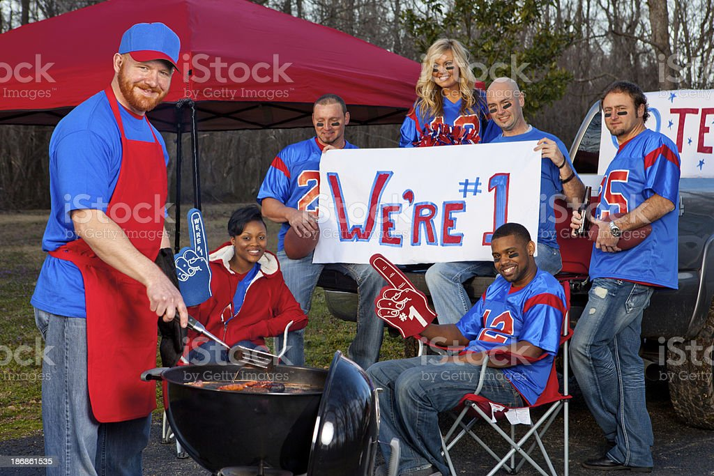 Football fans tailgating royalty-free stock photo
