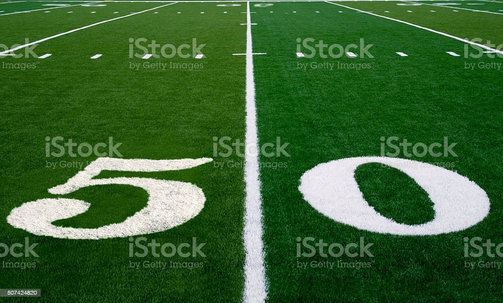 Football Field 50 Yard Line stock photo