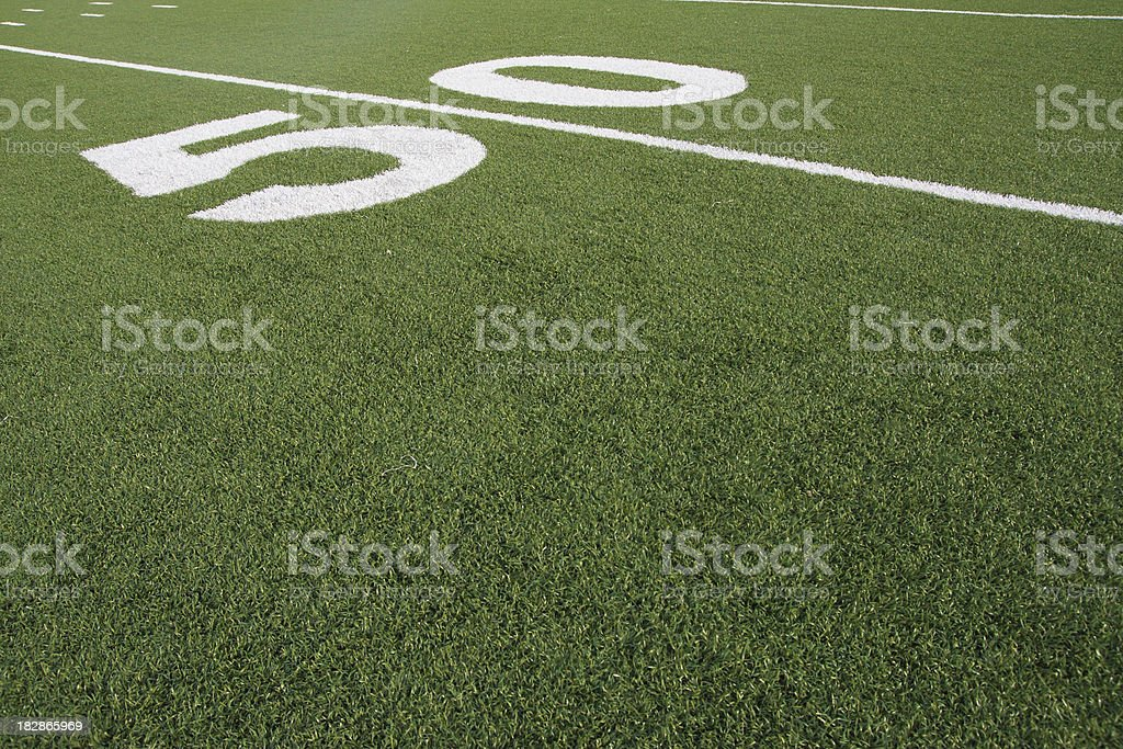 Football Field 50-Yard Line Artificial Grass Turf Angled View royalty-free stock photo