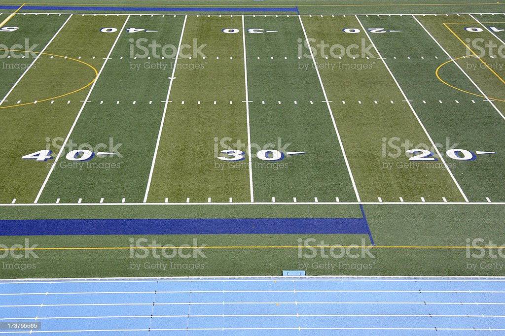 Football Field and Athletic Track stock photo