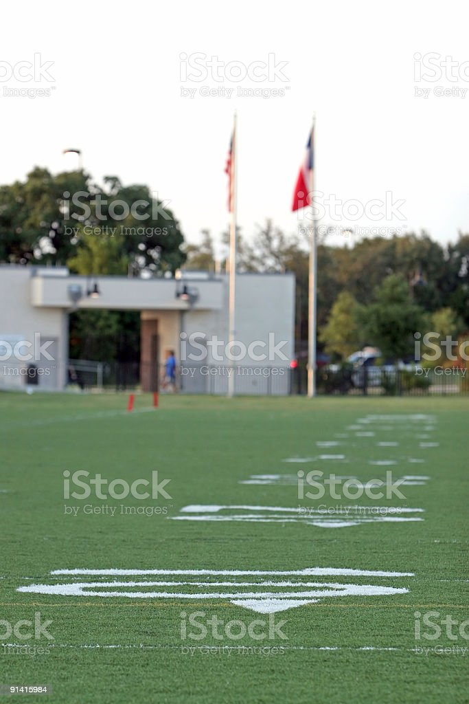 Football Field and Flags royalty-free stock photo