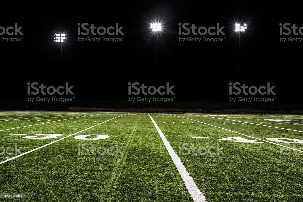 Football Field at Night stock photo
