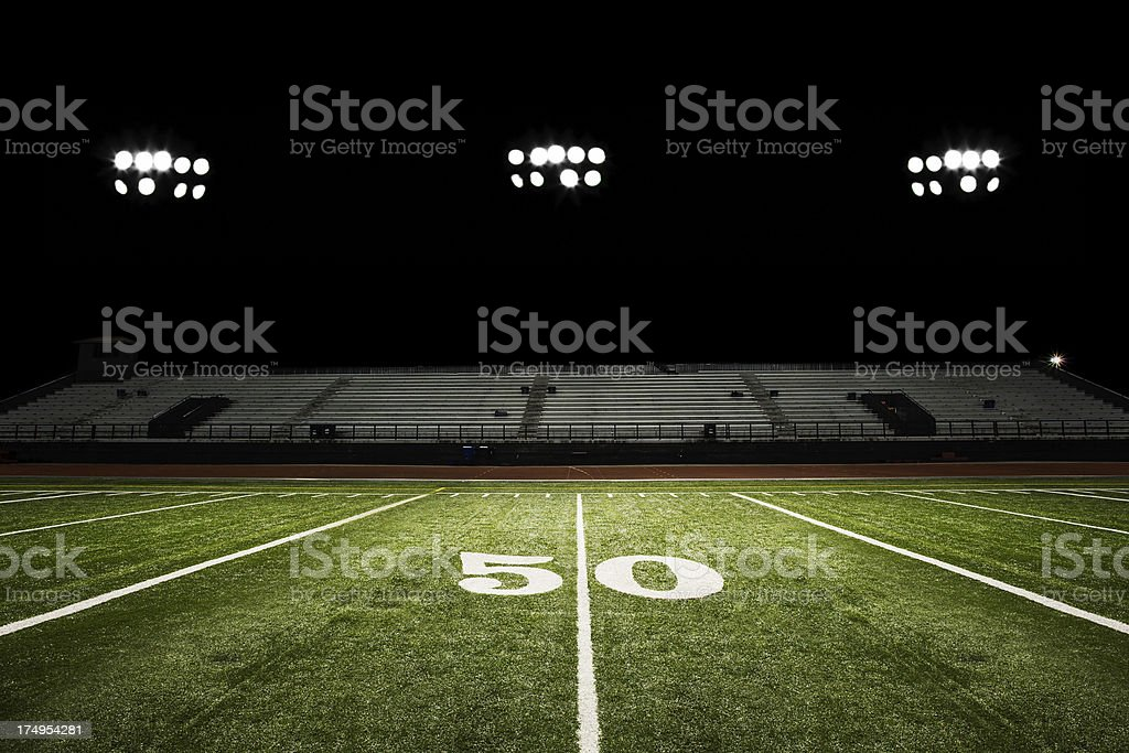 Football Field at Night stock photo