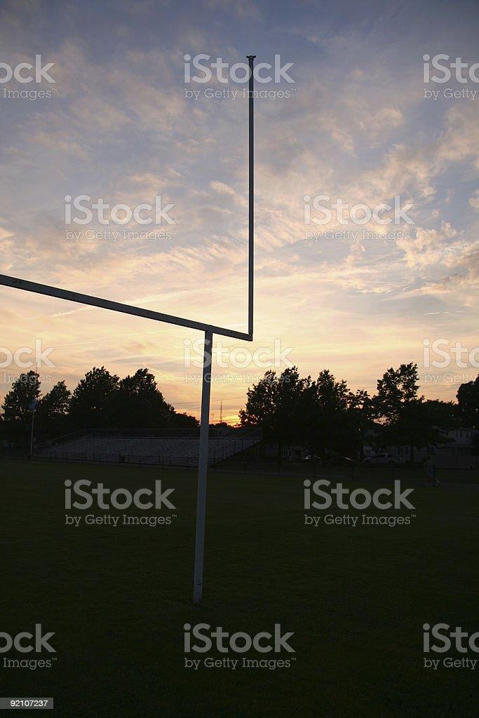 Football field at Sunset royalty-free stock photo