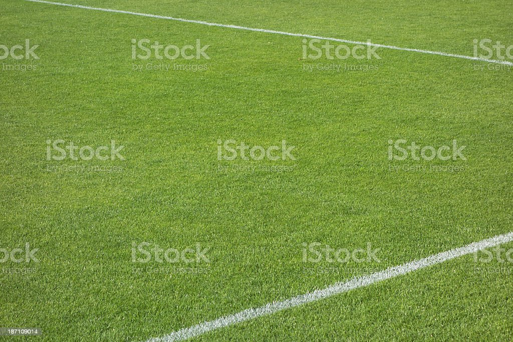 Football (soccer) field corner with white marks royalty-free stock photo